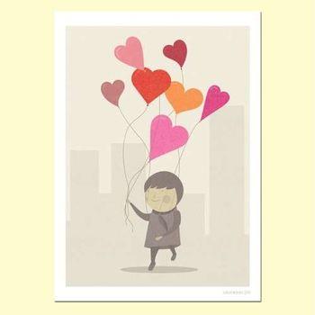 【摩達客】西班牙知名插畫家Judy Kaufmann藝術創作海報掛畫裝飾畫-愛的氣球 (附Judy本人簽名)(含木框)