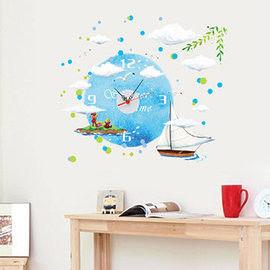 窩自在★韓版DIY創意壁貼時鐘-地中海風情(附靜音機芯)-SA-1-007