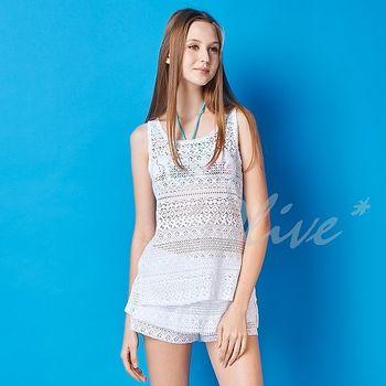 【潘它貝拉品牌】別緻蕾絲罩衫時尚四件式比基尼泳裝NO.1601001(現貨+預購)