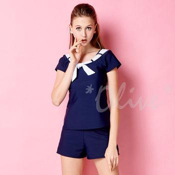 【潘它貝拉品牌】休閒運動風格時尚短袖二件式泳裝NO.1601106(現貨+預購)