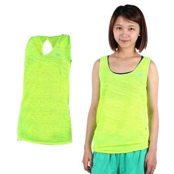 【MIZUNO】女運動背心- 圓領 慢跑 路跑 美津濃 螢光黃藍  電繡LOGO