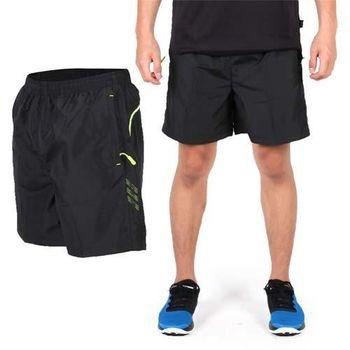 【SOFO】男蜜桃布短褲-慢跑 路跑 運動 休閒 黑亮綠  鬆緊腰帶內裡附抽繩