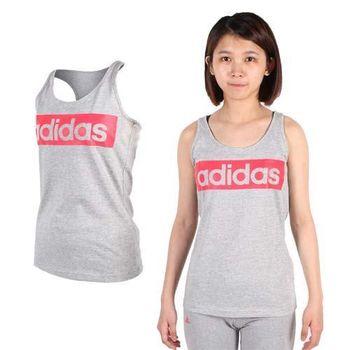 【ADIDAS】女挖背背心-愛迪達 運動 休閒 慢跑 路跑 休閒 無袖上衣 灰桃紅  70%棉30%聚酯纖維