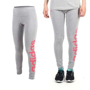 【ADIDAS】女緊身長褲-愛迪達 內搭褲 慢跑 路跑 瑜珈 運動 休閒 灰桃紅  吸濕排汗