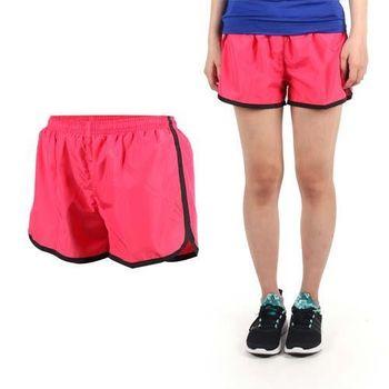 【SOFO】女運動短褲-慢跑 路跑 運動 休閒 桃紅黑  鬆緊腰帶附拉繩