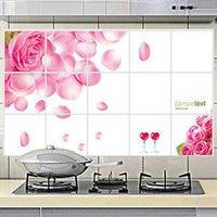 窩自在~廚房清潔高檔鋁箔防油貼紙防油牆貼 ^#45 情人玫瑰