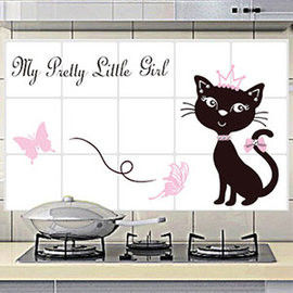 窩自在★廚房清潔高檔鋁箔防油貼紙防油牆貼-公主貓咪
