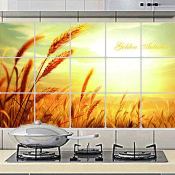 窩自在★廚房清潔高檔鋁箔防油貼紙防油牆貼-金色麥田