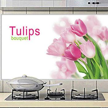 窩自在★廚房清潔高檔鋁箔防油貼紙防油牆貼-粉色鬱金香