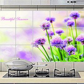 窩自在★廚房清潔高檔鋁箔防油貼紙防油牆貼-夢幻紫花