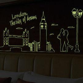 窩自在★DIY無痕創意夜光牆貼/壁貼_倫敦夜景-ABQ9603