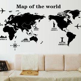 窩自在★DIY無痕創意牆貼/壁貼-世界地圖(黑)_AY9133