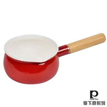【日本Pearl Life】Amulet琺瑯曲線牛奶鍋15cm-紅色