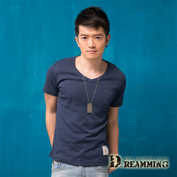 【Dreamming】簡約素面布標修身V領短T(深藍)