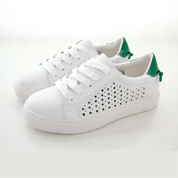 《DOOK》真皮舒適走路鞋-真皮後綁繩設計星星鏤空休閒鞋/小白鞋-後跟拼接款