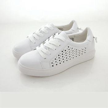 《DOOK》真皮舒適走路鞋-真皮後綁繩設計星星鏤空休閒鞋/小白鞋-全白款