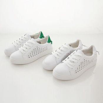 《DOOK》真皮舒適走路鞋-真皮後綁繩設計星星鏤空休閒鞋/小白鞋-2款