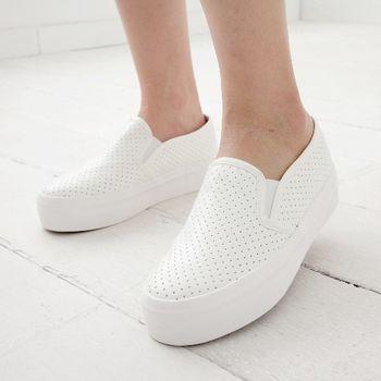 《DOOK》厚底懶人鞋-皮革簡約素面洞洞透氣設計-白色
