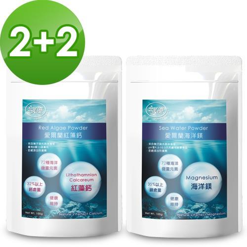 【樸優】愛爾蘭紅藻鈣+海洋鎂超值2+2組(100g/包)