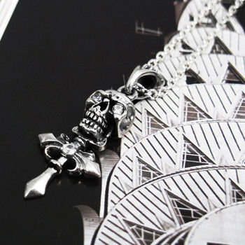 64DESIGN 骷髏十字錐項鍊 純銀項鍊