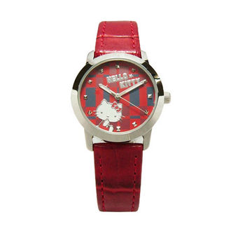Hello Kitty 童玩博覽會趣味造型時尚皮革腕錶-紅-LK683LWRR