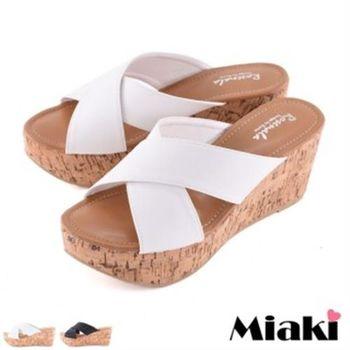 【Miaki】拖鞋沙灘必敗坡跟厚底涼鞋 (黑色 / 白色)