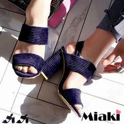 Miaki高跟鞋直擊韓風寬帶粗跟涼鞋(黑色/藍色)