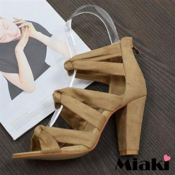 【Miaki】高跟鞋東大門限定羅馬涼鞋 (黑色 / 杏色)