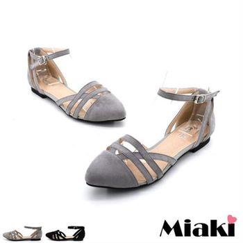 【Miaki】包鞋韓劇美人平底涼鞋 (黑色 / 灰色)