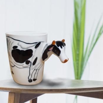 3D動物造型手繪風陶瓷杯- 乳牛(350ml) 加碼送貼心茶包架