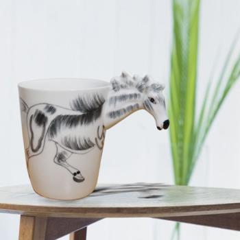 3D動物造型手繪風陶瓷杯- 蒙古馬(350ml) 加碼送貼心茶包架