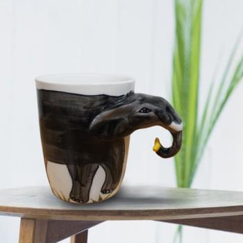 3D動物造型手繪風陶瓷杯- 大象(350ml) 加碼送貼心茶包架