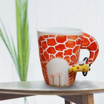 3D動物造型手繪風陶瓷杯- 長頸鹿(350ml) 加碼送貼心茶包架