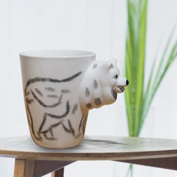 3D動物造型手繪風陶瓷杯- 白狼(350ml) 加碼送貼心茶包架