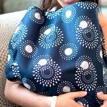 美國Mothers Lounge美型哺乳巾-軍藍花火