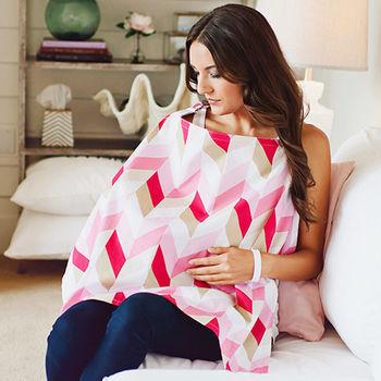 美國Mothers Lounge美型哺乳巾-桃粉山紋