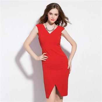 【M2M】V領純色裙開衩修身無袖洋裝