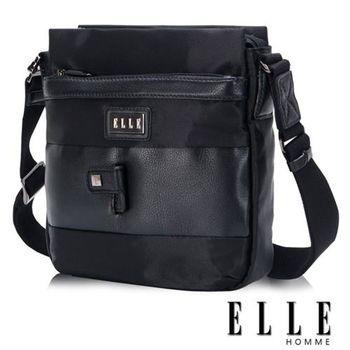 【ELLE HOMME】時尚閃耀 側背包 IPAD層 搭配頂級頭層皮亮系設計(黑EL83399-02)