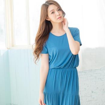Wonderland 美人氣質嫘縈居家洋裝(藍)