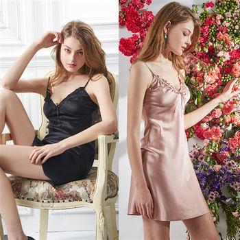 唐絹-100%蠶絲收腰深V浪漫睡衣裙(兩色)