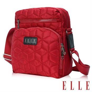 【ELLE】優雅淑媛 立體緹花壓紋ipad扣層/10吋皆可入 直式休閒側背包設計款(紅EL83433-01)