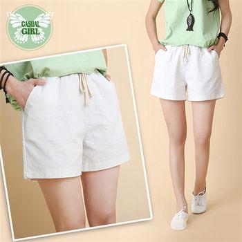 CASUAL GIRL「森林女孩」棉麻休閒短褲 (白)