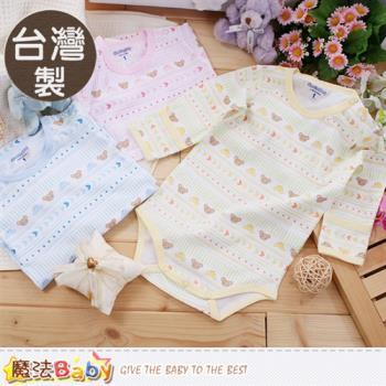 魔法Baby 嬰兒內著 台灣製純棉薄款長袖護手包屁衣 連身衣~a16046