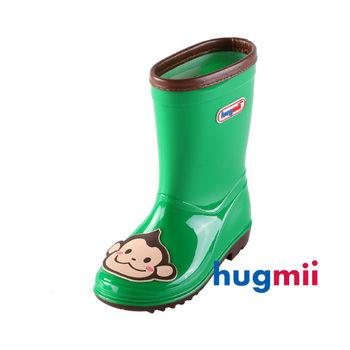 【hugmii】可愛貼片造型兒童雨鞋_綠色猴子