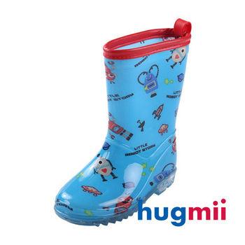 【hugmii】高邦滿圖童趣造型兒童雨鞋_藍機器人