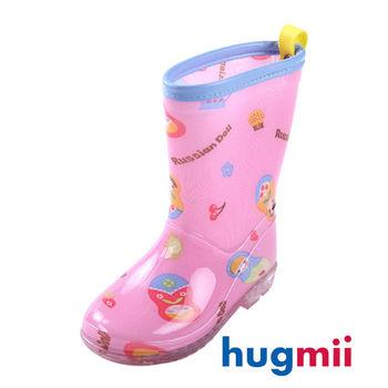 【hugmii】高邦滿圖童趣造型兒童雨鞋_粉色娃娃