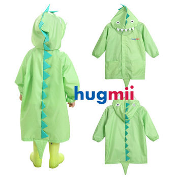 【hugmii】童趣立體造型兒童雨衣_綠恐龍