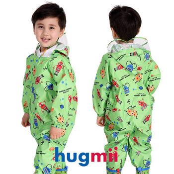 【hugmii】童趣造型連身兒童雨衣_綠機器人