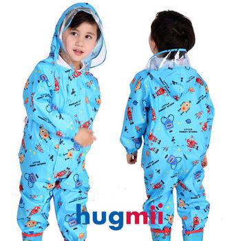 【hugmii】童趣造型連身兒童雨衣_藍機器人