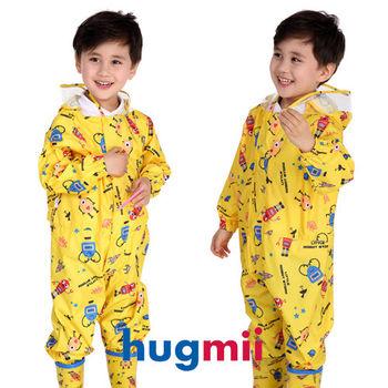 【hugmii】童趣造型連身兒童雨衣_黃機器人